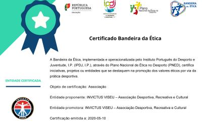 Certificado de Desempenho a Azul e Verde com Fita